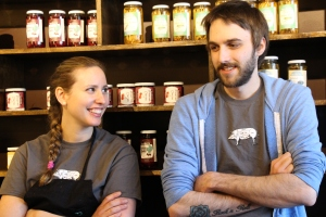 Jessi Gillis with Head Meat Cutter Bryton Bordage