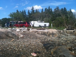Arriving at KOA Oceanside Bar Harbor - tide out.