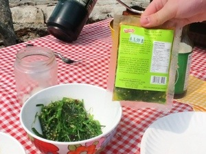 Seaweed Salad, comes frozen and has toasted sesame seeds.