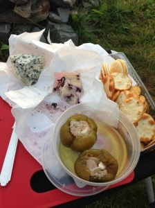 Stilton, Blueberry Stilton and prosciutto stuffed jalapeno peppers. The perfect sunset appertif.