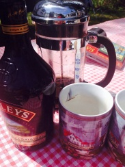 Glampy morning coffee = bodum + Baileys.