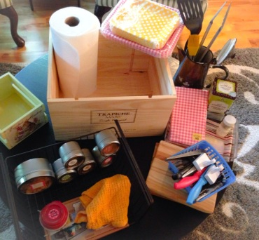 Ingredient's for a homemade mini kitchen organizer