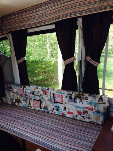 new valance, seat cushion covers and tie-backs