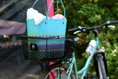 My groovy detachable bike basket worked great in the public showers and kept my gear off the 'public shower benches'.