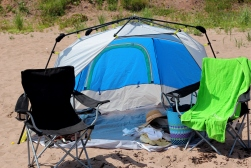 Our glamping beach kit-out.
