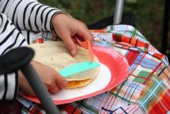 quesadillas on glamping lap mats