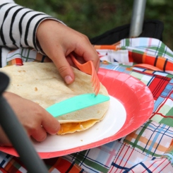 quesadillas on glamping lap mats
