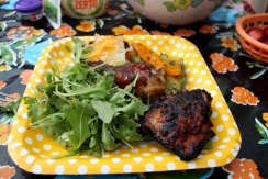 Piri Piri Chicken, rocket salad and chimchurri grilled veg