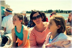 Soaking up sun and sights on the ferry.