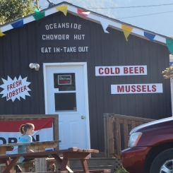 Fresh seafood and bottled beer for weary campers.