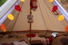 Cosy for a family of five. East Coast Glamping in a bell tent in Oct. 2014.