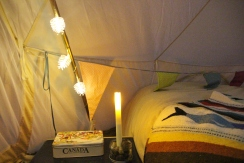 Vintage-style tins and twinkly lights