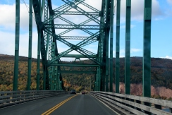 Crossing bridge to head up Kelly Mountain towards Baddeck, NS.