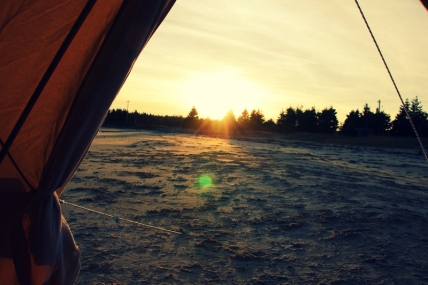 Sunset views from an East Coast Glamping bell.