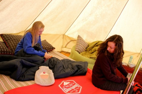 Cupcake hot water bottles and Rumpl blankets take the chill off. Wish we could sleep out here.