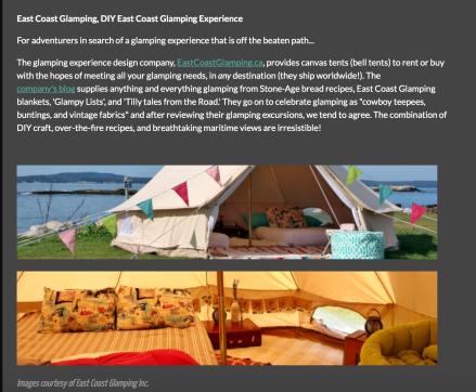 Guide to East Coast Glamping on Houseporn.ca.