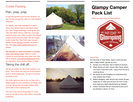 Here's our East Coast Glamping printable packing list for fellow campers and glampers.