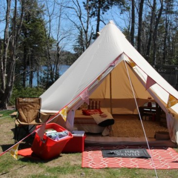 An East Coast Glamping bell tent pitched for two. Comes with Pantry Pack.