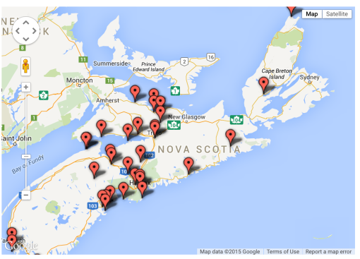 Here's a great day-tripping map. Take along an ECG DIY Go Glamping Kit and make it week long adventure around Nova Scotia!