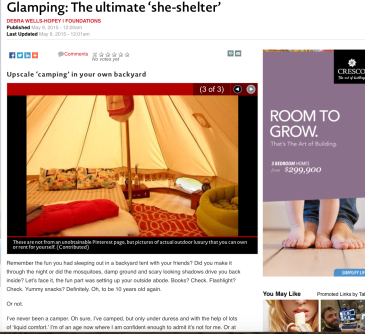 Glamping and the 'Ultimate she-shelter'