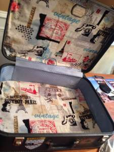 A splash of Parisian vintage & VW fabric mixes with old North American travel stickers.
