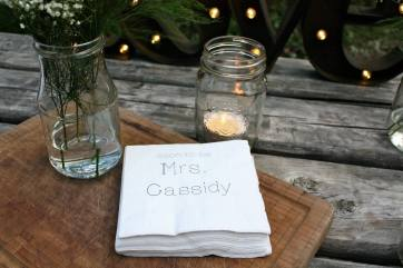 Custom printed napkins were just one of the special touches at the two night Glamping Bachelorette for 10 people.