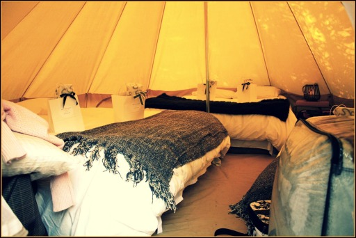 One of two East Coast Glamping bell tents, each sleep 6-8 people.