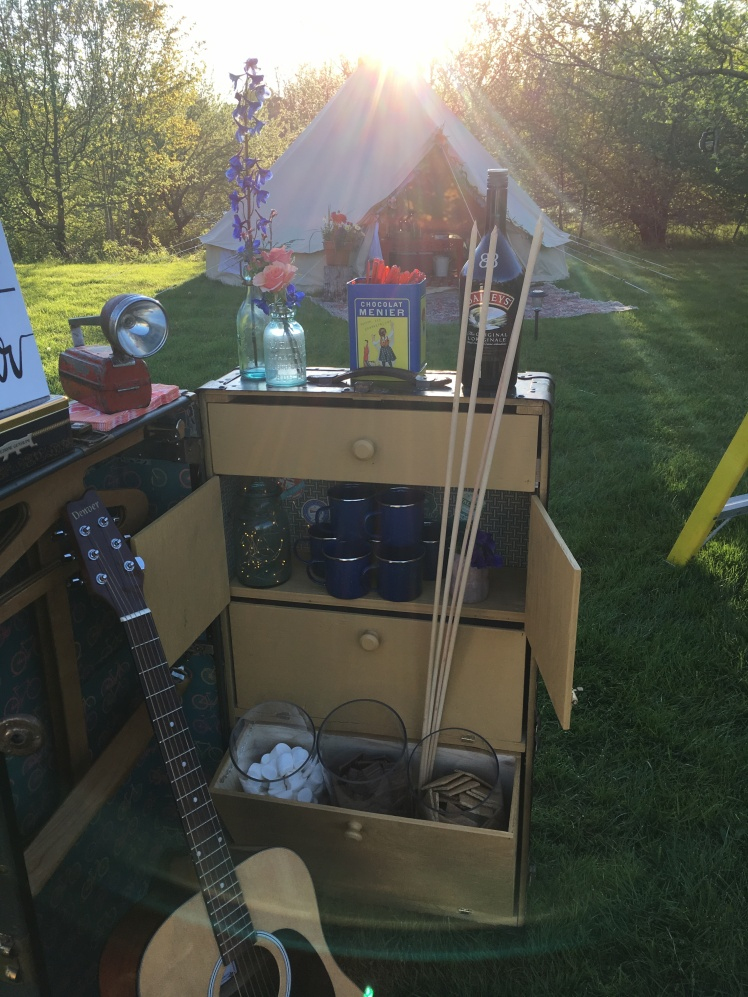 East Coast Glamping vintage steamer trunk ready for the campfire.
